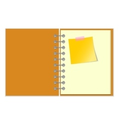 Open notebook with yellow sticker vector image