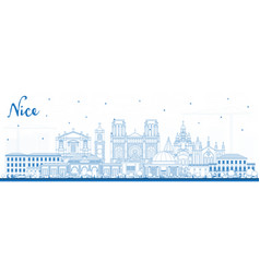 Outline nice france city skyline with blue vector