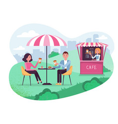 Park cafe with umbrella in amoeba background vector