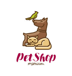 pet shop label or logo animals parrot dog cat vector image
