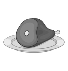 Piece of meat in plate icon monochrome style vector image