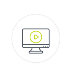 Play video line icon on white vector