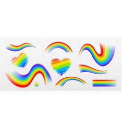 rainbow effect colorful wavy stripes and hearts vector image