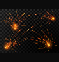 Realistic fire sparks spark flow of steel welding vector