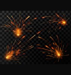 Realistic fire sparks spark flow steel welding vector