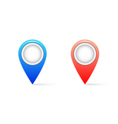 realistic map pin icon with shadow pin icon vector image