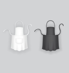 Realistic white and black kitchen apron vector