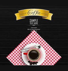 red cup of coffee with yellow ribbon vector image vector image