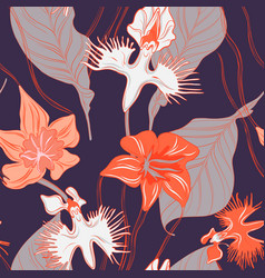 retro orchid floral pattern seamless cloth vector image
