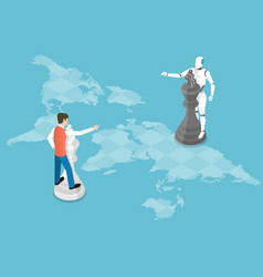 robot and human are playing chess game vector image
