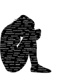 sad woman silhouette with typography pattern vector image