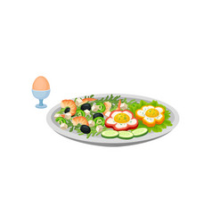 salad shrimps and vegetables on same plate vector image