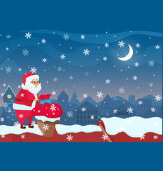 santa claus standing on roof and putting bag vector image