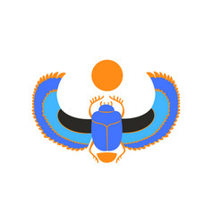 Scarab beetle with blue wings and orange sun vector