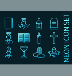 set christianity blue glowing neon icons vector image