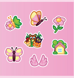 set flat stickers beautiful butterfly wildflowers vector image