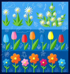 set of flat flowers vector image