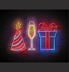 signboard with gift champagne and holiday hat vector image