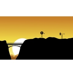Silhouette of bridge and windmill landscape vector image