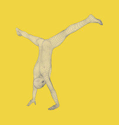 Sporty man doing handstand exercise gymnast vector
