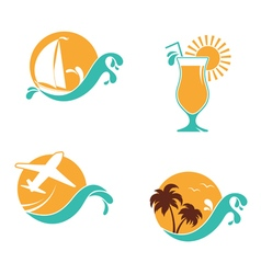 Summertime emblems set vector image