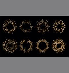 sunburst set starburst elements collection vector image