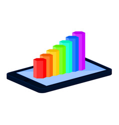 tablet and statistical graph template 3d vector image
