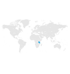 Tanzania marked by blue in grey world political vector