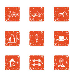 Tense situation icons set grunge style vector