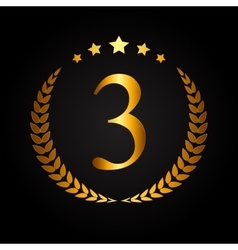Third Place Gold Laurel Design Label vector