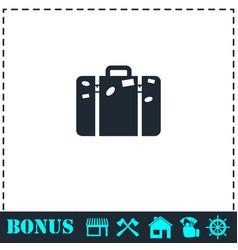 travel bag icon flat vector image