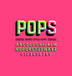 Trendy style pop art font alphabet letters and vector