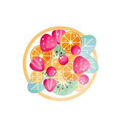 Various fresh fruits and berries on a plate vector