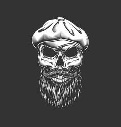 Vintage irish skull in gatsby hat vector