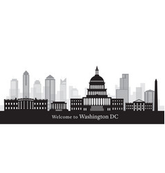 washington dc landmarks in black and white vector image