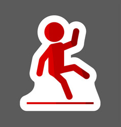 Wet floor warning sign colored sticker icon man vector