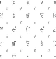 wine icons pattern seamless white background vector image