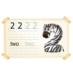 Zebra number two worksheet vector