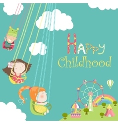 Children ride on the carousel vector image