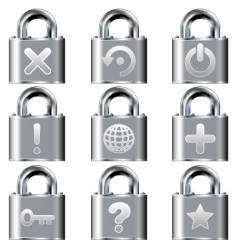 computer desktop lock icons vector image vector image