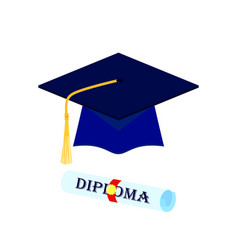 graduation cap and rolled diploma scroll with vector image vector image