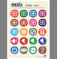 Music and media web icons set drawn by chalk vector image vector image