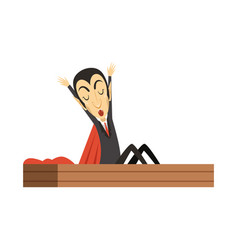count dracula vampire waking up in the coffin vector image vector image