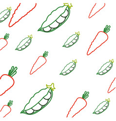 Fresh carrots and peas vegetables vector