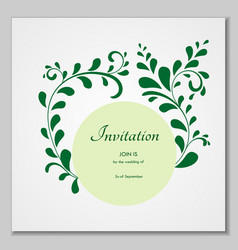 greeting card with stylized leaves can be used as vector image vector image