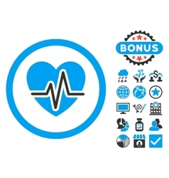 Heart Diagram Flat Icon with Bonus vector image