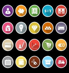 Money icons with long shadow vector image vector image