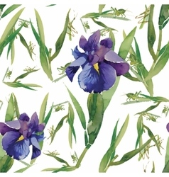 Seamless pattern with watercolor irises vector image vector image