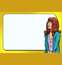 woman pop art with long hair copy space vector image