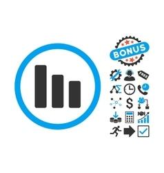 Bar Chart Decrease Flat Icon with Bonus vector image vector image